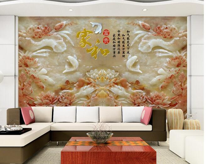 玉雕电视背景墙九鱼富贵