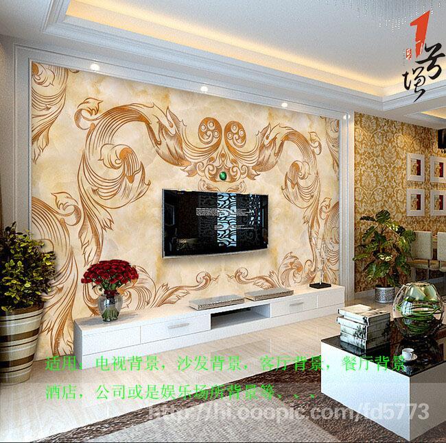 欧式大气精美经典欧式花纹大理石电视沙发背景墙
