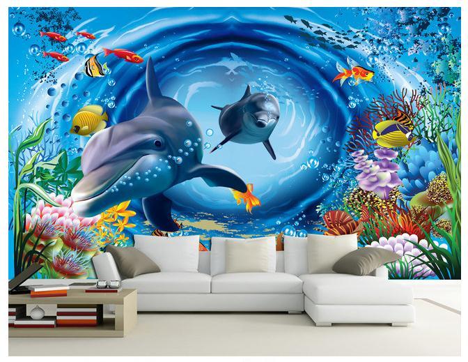 3D海底世界卡通儿童房背景墙壁画