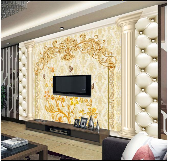 3D罗马柱软包欧式花纹电视背景墙