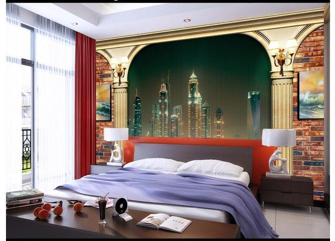 欧式3D罗马柱梦幻夜景客厅电视背景墙