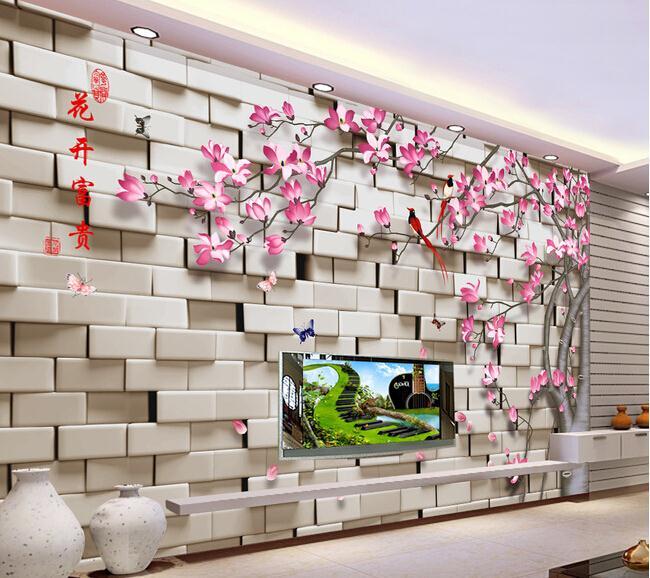3D花开富贵玉兰花鸟墙 (2)