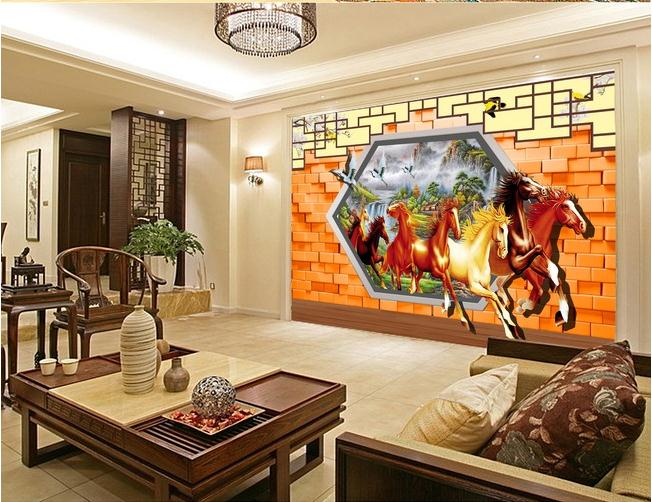 3D八骏图客厅电视背景墙