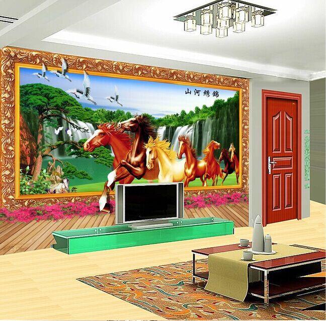 3D骏马电视客厅背景墙