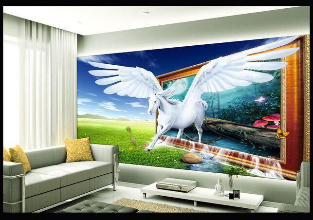 3D立体壁画梦幻飞马电视背景墙
