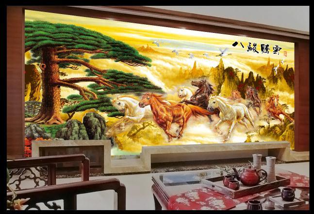 八骏腾云大气精美电视背景墙山水风景图画