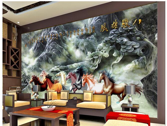 八骏图浮雕壁画电视背景墙背景画