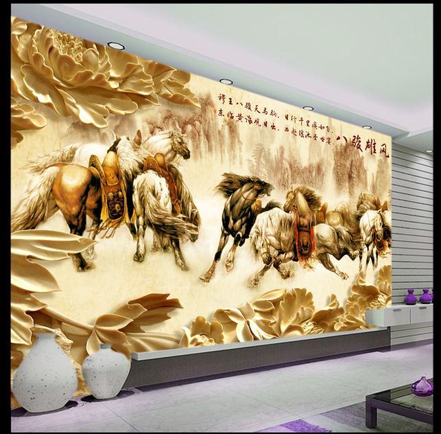 高档立体木雕牡丹八骏图客厅电视背景墙