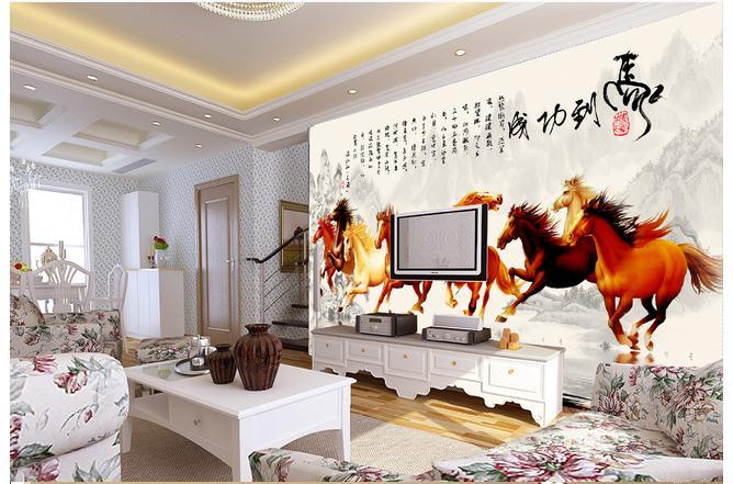 客厅八骏图国画电视背景墙图片