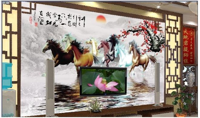 客厅八骏图水中倒影电视背景墙图片