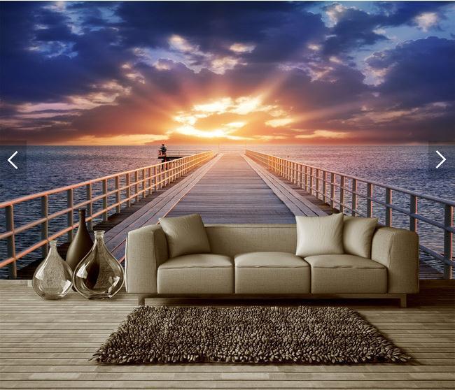 通向大海的木桥码头3D空间背景墙壁画