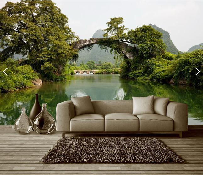 小桥流水绿色清新3d背景墙