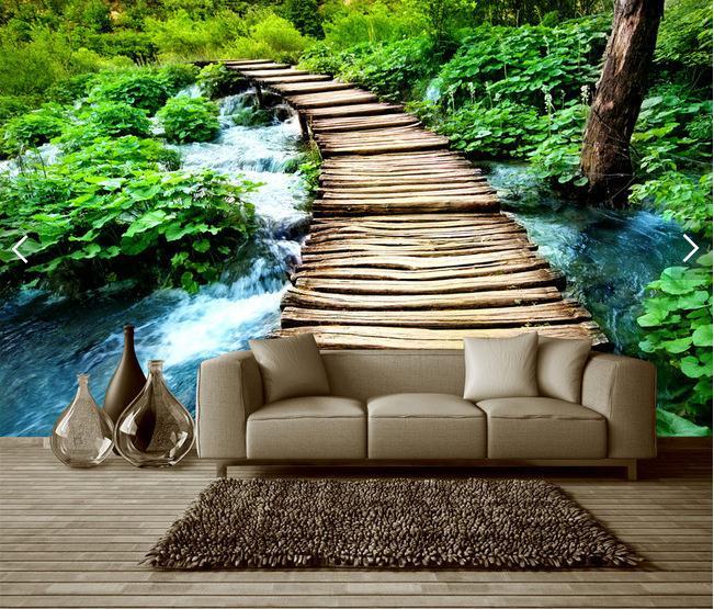 小桥流水木桥绿色风景画背景墙