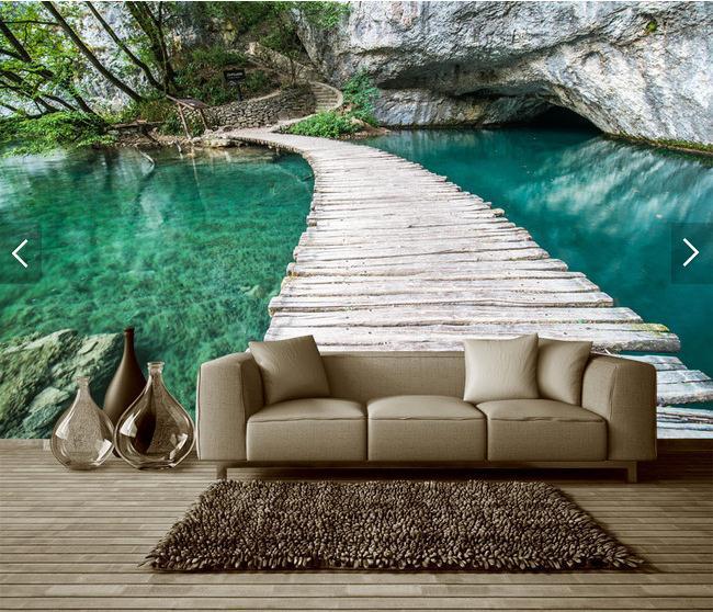 小桥流水世外桃园唯美风景画背景墙