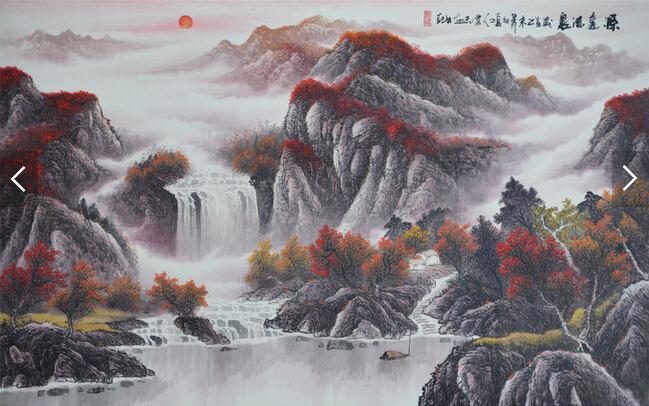 重彩国画源远流长艺术背景壁画