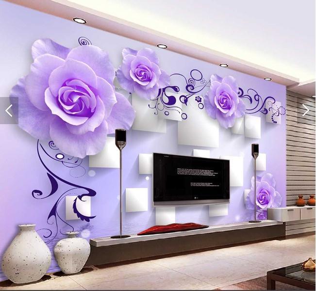 紫色玫瑰水中花倒影立体方形淡雅时尚背景墙