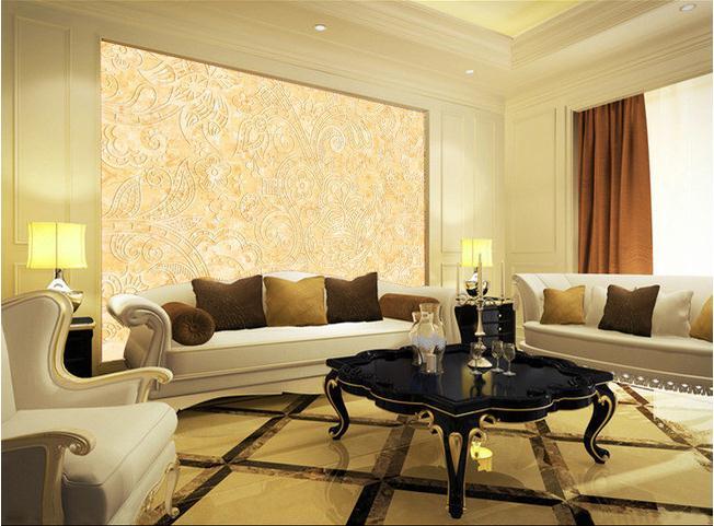 金色花纹潮流线条电视背景墙