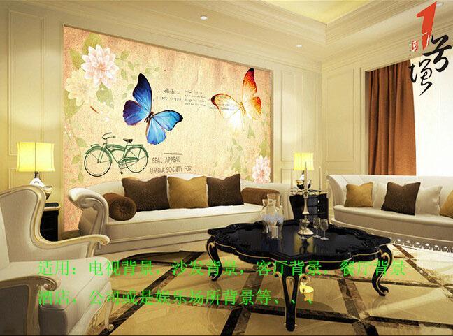 欧美复古怀旧单车蝴蝶电视背景墙