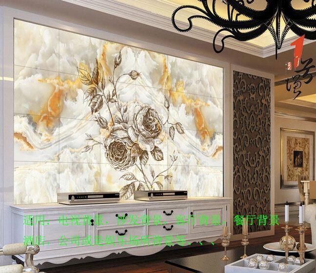 欧式花纹大理石电视背景墙装饰画