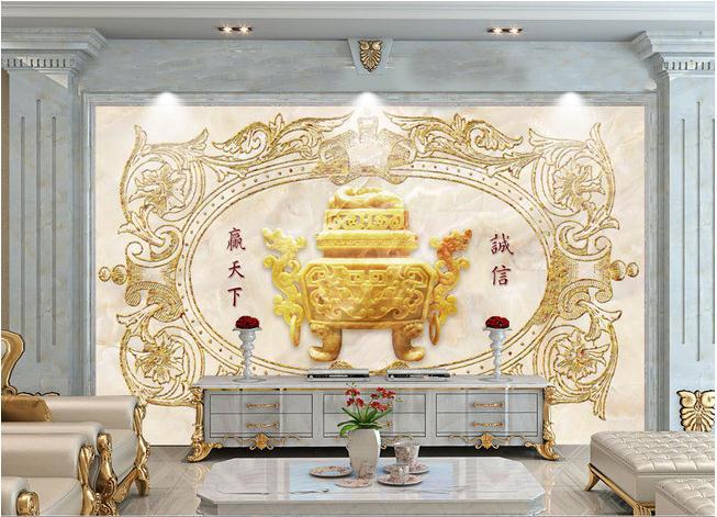 欧式花纹浮雕大理石玉雕诚信壁画背景墙