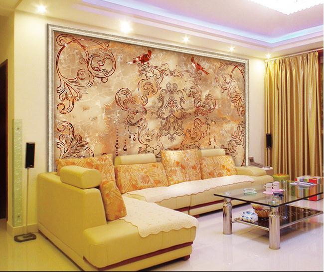欧式花纹时尚花纹大理石纹背景墙含路径图
