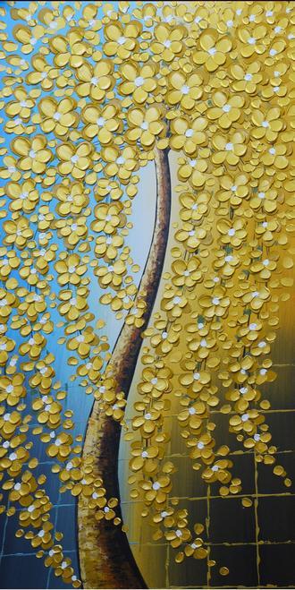 王中王谜语猜解 渐变蓝黄发财树立体油画艺术玄关