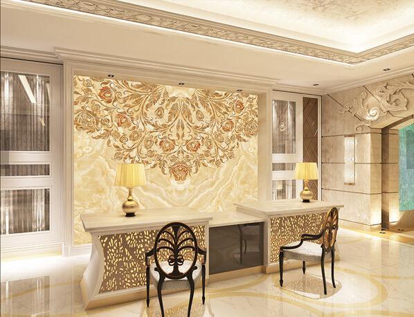 欧式背景墙 大理石欧式花纹背景墙盛放