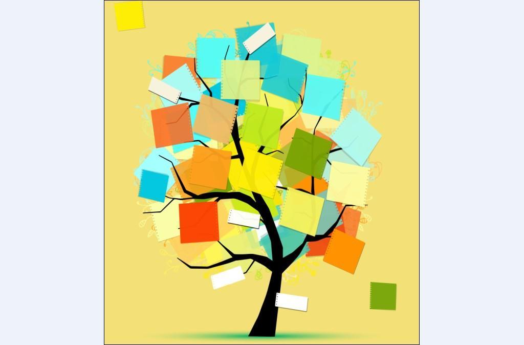 现代背景墙 彩纸花纹树木