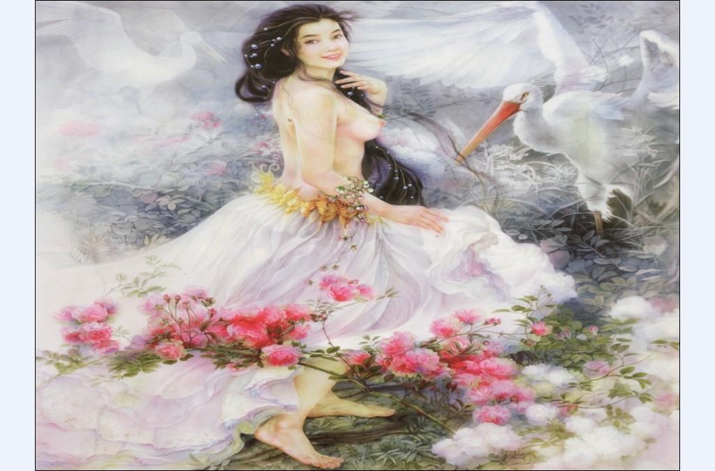 客厅背景墙 壁画 美女漂云