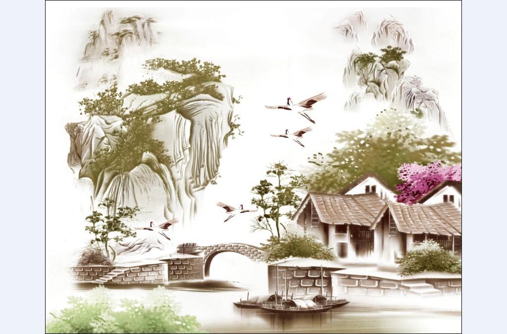 酒店背景墙 山水画3000X2400
