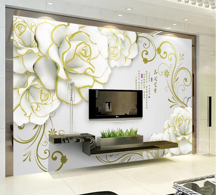 牡丹花纹立体浮雕电视背景墙