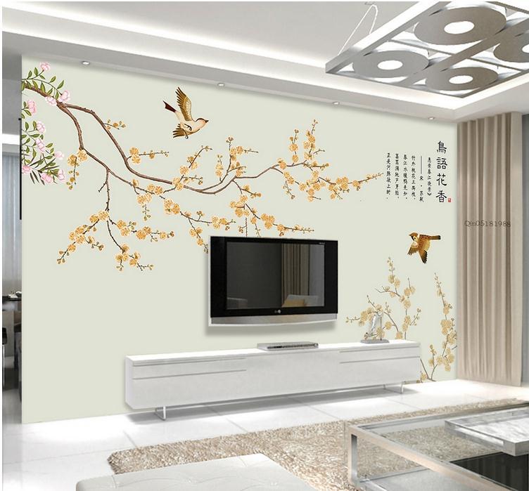手绘桃花花鸟复古手绘背景墙壁纸