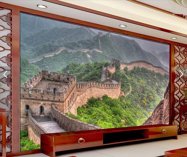中式万里长城风景壁画背景墙