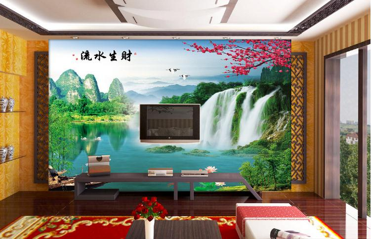 复合玻璃背景墙 高清风景画流水生财桂林山水背景分层