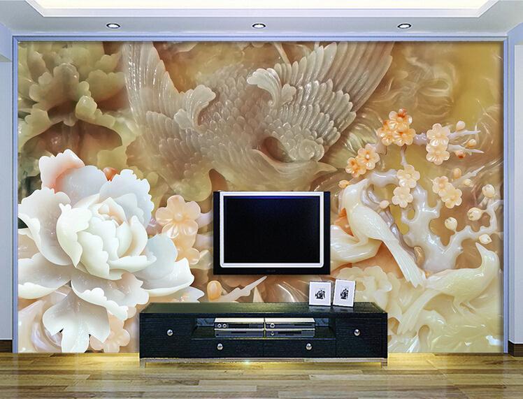 UV彩雕背景墙 玉雕大展宏图牡丹