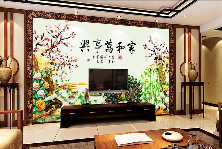 UV彩雕 玉雕牡丹孔雀开屏家和万事兴电视背景墙
