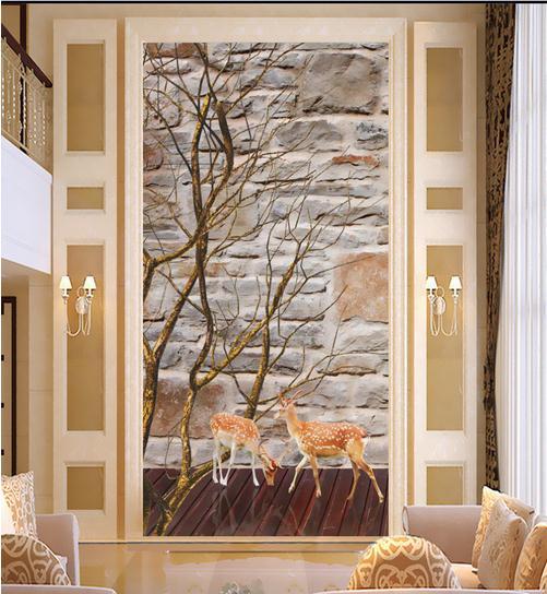 3D立体创意文化石树枝梅花鹿玄关背景墙