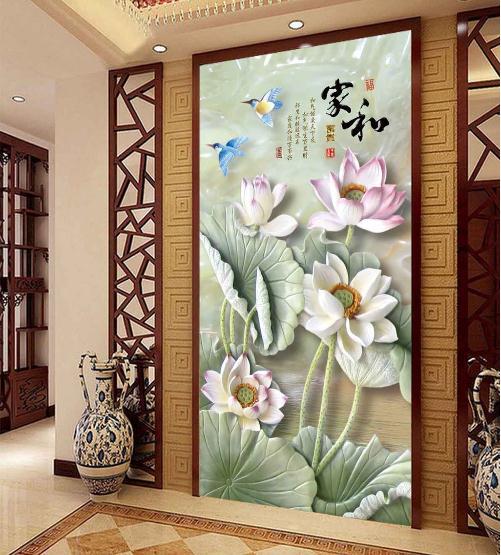 家和富贵玉雕荷花玄关背景墙
