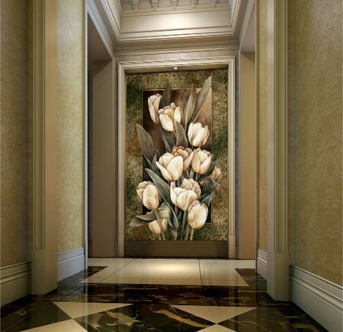 欧式复古白色郁金香油画玄关背景墙