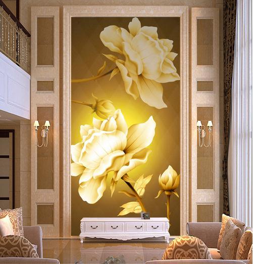 欧式金色玫瑰花玄关过道背景墙装饰画