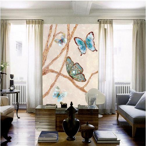 欧式现代简约蝴蝶花纹油画玄关背景墙