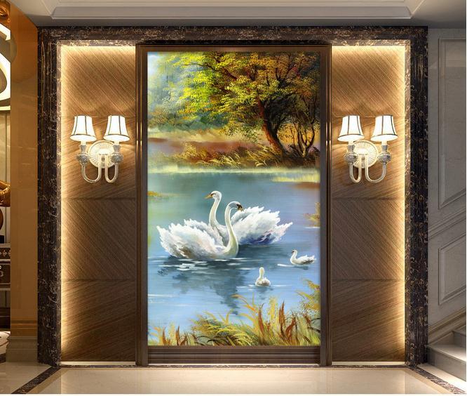 天鹅油画抽象风景玄关
