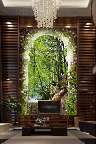 田园花卉拱门木桥3D玄关壁画