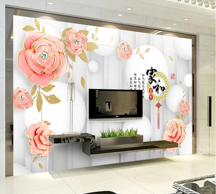 客厅背景墙 3D立体玫瑰浮雕高端电视背景墙