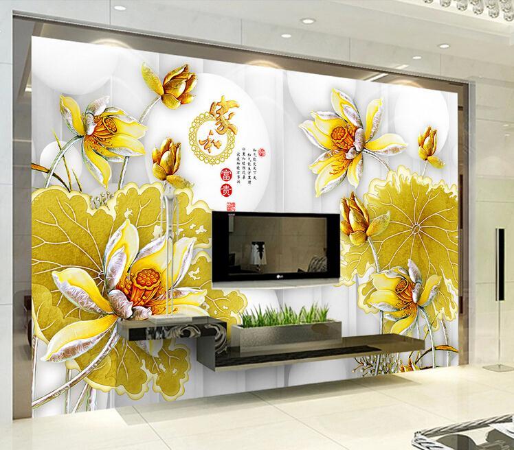 客厅背景墙 彩雕荷花家和富贵3D高端电视背景墙