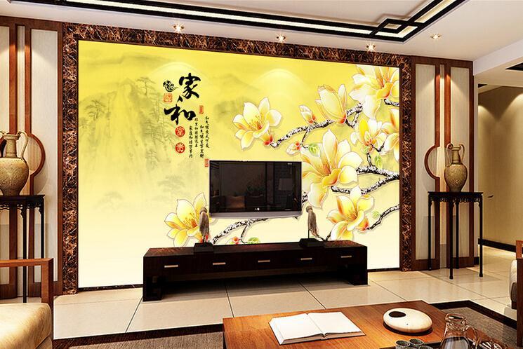 客厅背景墙 彩雕玉兰花壁画电视背景墙