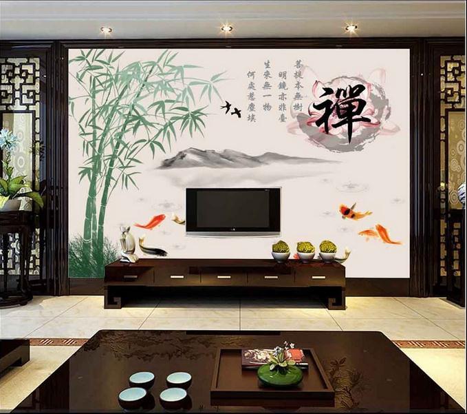 客厅背景墙 禅九鱼图