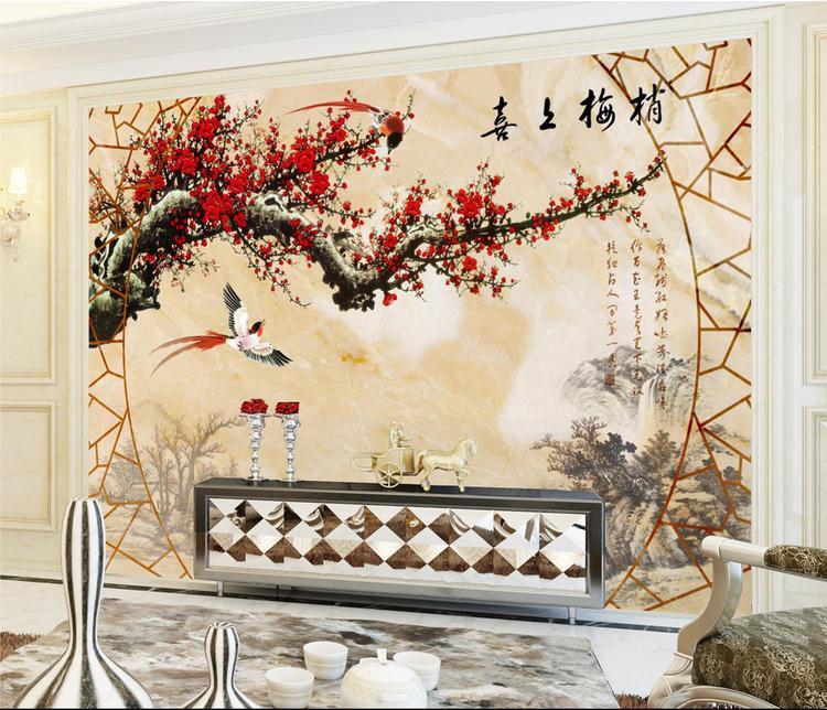 客厅背景墙 大理石纹重视喜上眉梢背景墙