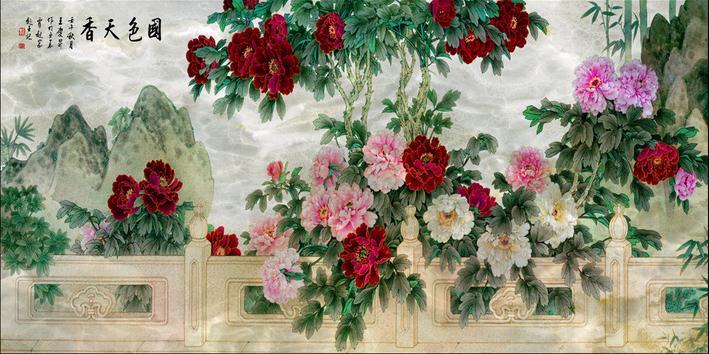 客厅背景墙 大型国画牡丹花彩雕背景国色天香带路径