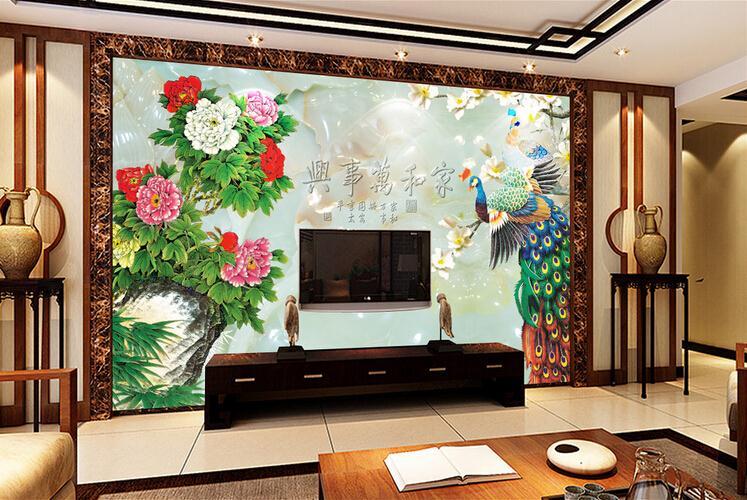 客厅背景墙 高清玉雕家和富贵孔雀电视背景墙